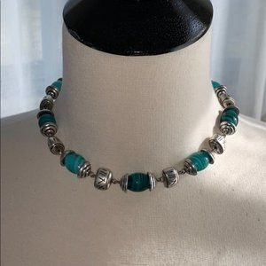 Premier Designs Teal Glass Beads Necklace Earrings